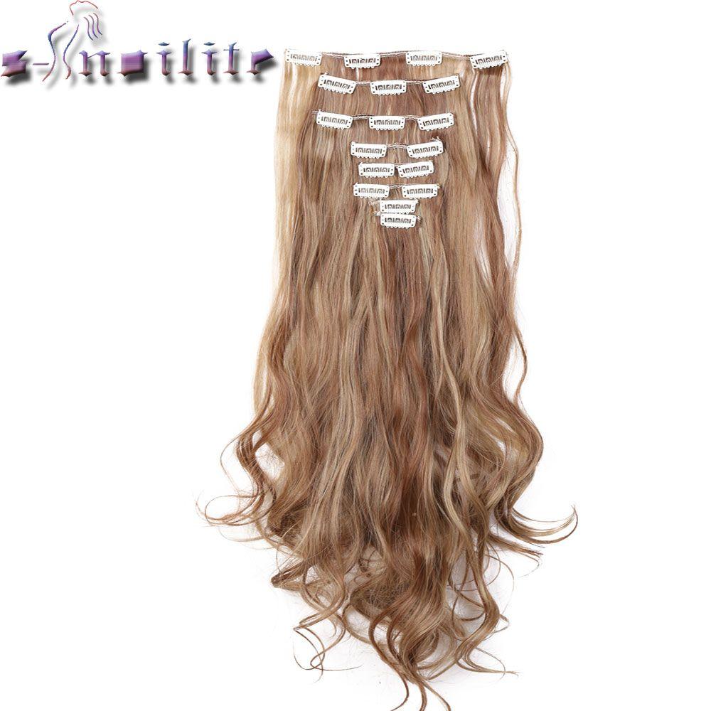 С-noilite 100% реальной толщиной 180 г 8 шт. Полный начальник Клип в на волос 18 Зажимы ins вьющиеся натуральный шиньоны Синтетический Волокно