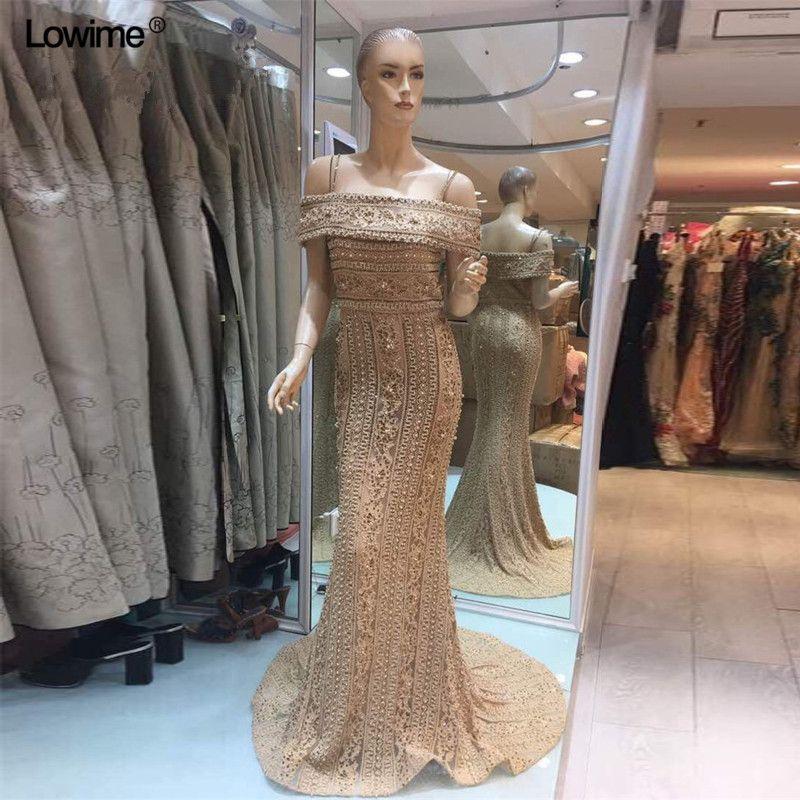 2018 Newest Mermaid Elegant Evening Dress Long Sexy Sleeveless Pearls Beading Evening Gowns Abendkleider 2018