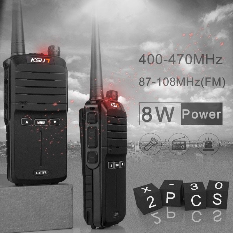 (<font><b>2pcs</b></font>) KSUN X-30 handheld walkie talkie portable radio 8W high power UHF Handheld Two Way Ham Radio Communicator HF Transceiver
