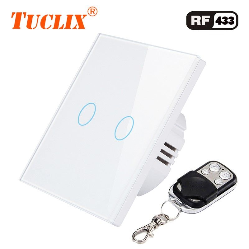 TUCLIX EU/UK 2 gang 1 way remote control touch switch remote wall lamp switch crystal lace of toughened glass