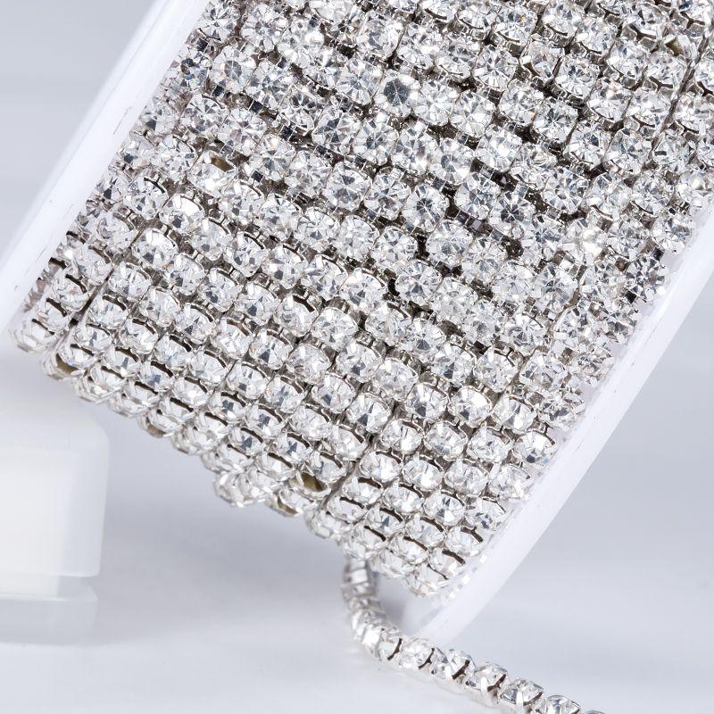 QIAO nouvelles offres cristal strass bricolage beauté SS12 10 yards/rouleau 3mm accessoires de mode clair fermer chaîne de coupe en strass