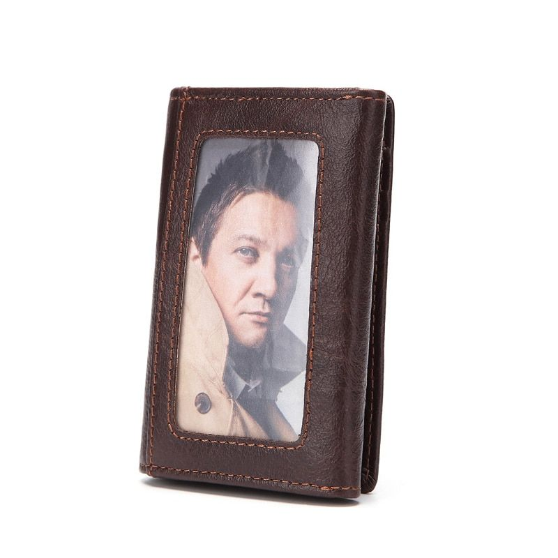 Small Men Wallets Genunie Leather Wallet Men Purse Mini Vintage Purse Short Male Wallet Photo Pocket Coins Card Holder Carteira