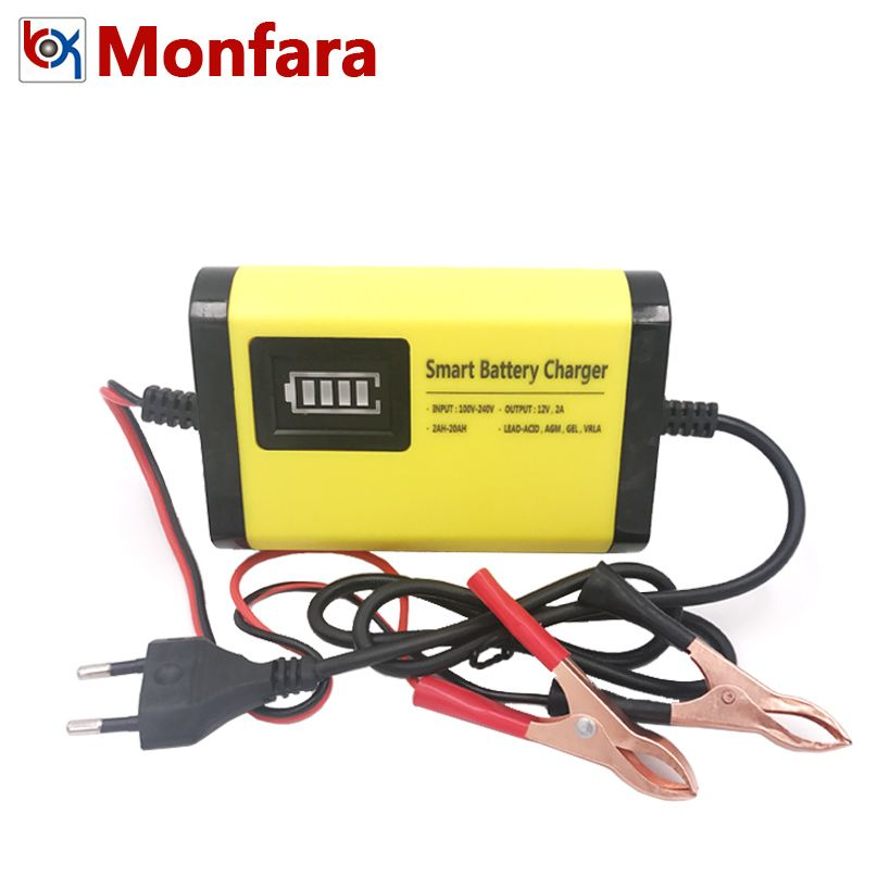 YX201 12V 2A Smart Car Battery Charger Automatic Auto Motorcycle Lead Acid AGM GEL Dry Batteries Power Supply 12 V <font><b>Volt</b></font> Moto LCD