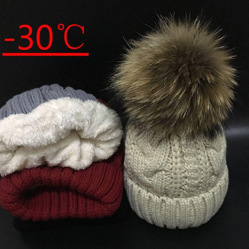 2017 Womens hats Add velvet Fleece Inside Beanies Winter Hats for women 100% Raccoon Fur Pompom Hat Female Twist pattern caps
