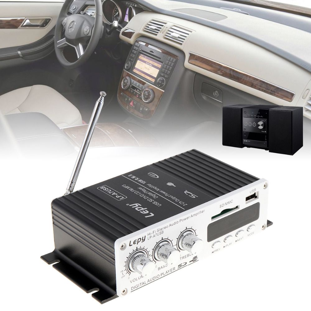 Mini Auto Car Power Amplifier Digital Player Audio Amplifier AMP Support USB SD DVD CD FM MP3 Input with Remote Controller