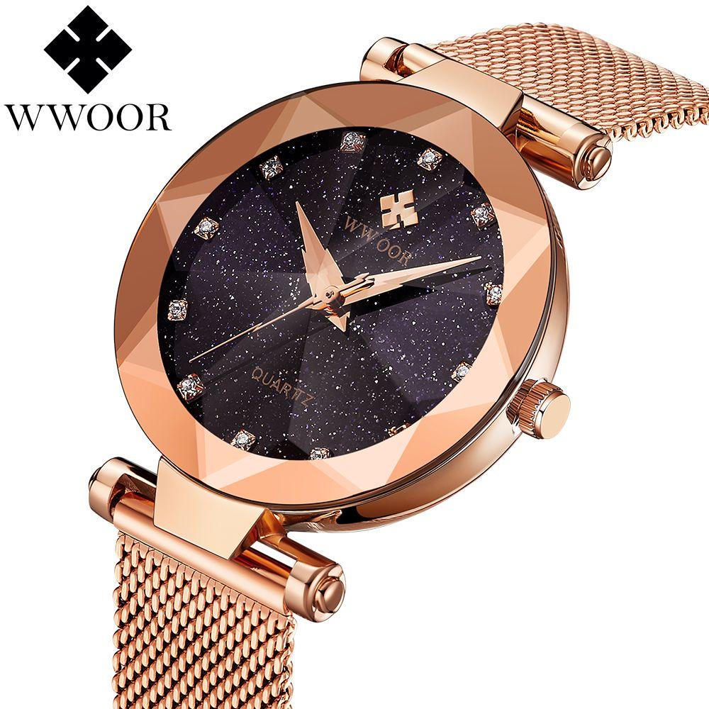 New Style Women Watches Rhinestone Luxury Brand Ladies Quartz Watch Ultra-thin Steel Mesh Band Rose gold Bracelet reloj mujer