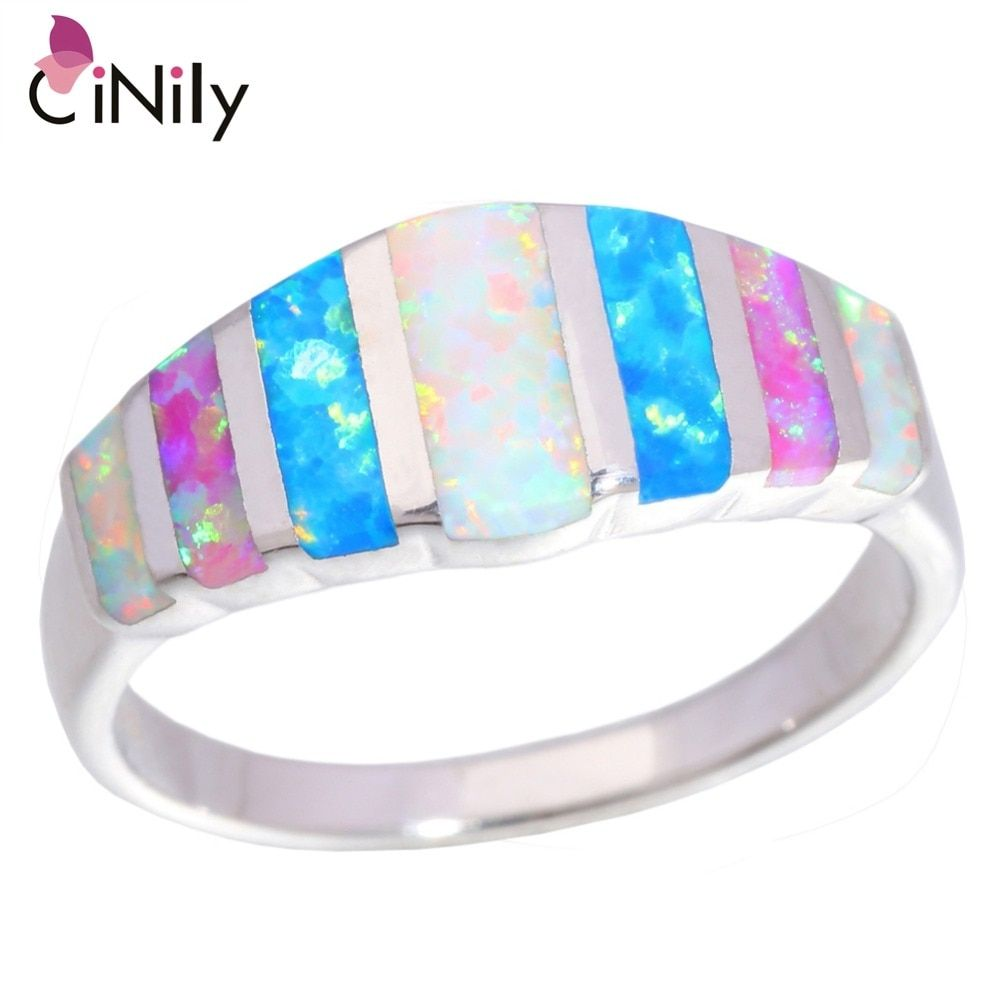 CiNily Rainbow Big Fire Opal Stone Rings Silver Plated Blue White Pink Colorful Engagement Finger Ring Summer Jewelry Women Girl