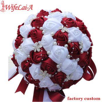 WifeLai-Un Ramos De Mariée Bourgogne Rouge Blanc Cristal Bouquet De Mariée Personnalisé Fleur Artificielle De Demoiselle D'honneur De Mariage Bouquet W224A-2
