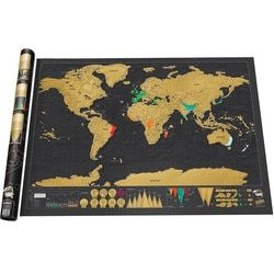 1 PCS New Design Black Deluxe Scratch Map Travel Scratch Off World Map Best Gift for Education School 82.5x59.4cm kk