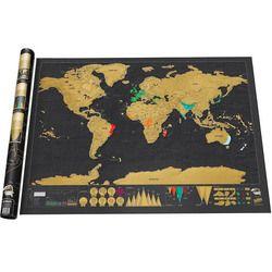 1 PCS Retro Black Deluxe Scratch Map Travel Scratch Off Globe World Map School Office Decor Vintage Poster 82.5x59.4cm kk