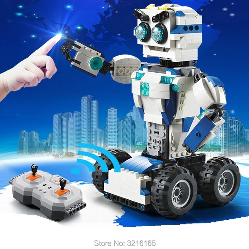 606 stücke DIY 2-in-1 RC Bausteine Verwandeln Roboter spielzeug Lithium-batterie Motor Boost Kreative Bricks Kompatibel Legos Geschenk kinder