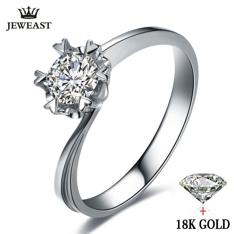 Natural diamond Ring 18k Gold Wedding Snowflake Romantic Propose Engagement Women Lover Anniversary Party New Good Customize