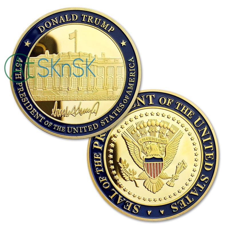 Wholesale 50/100pcs/lot 45th U.S. President Donald Trump Inaugural Gold Plated Eagle Commemorative Novelty Coins Collectibles