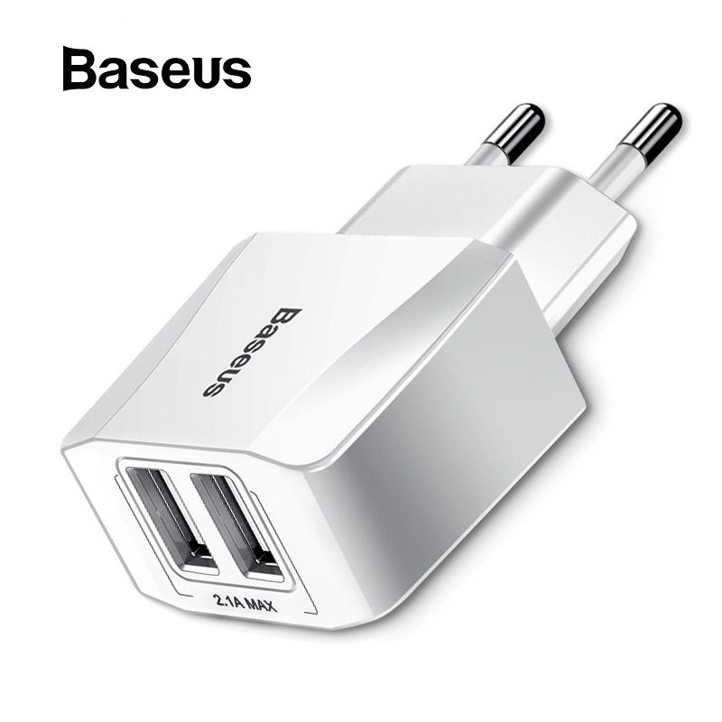 Baseus Portable Dual USB Charger 5V 2.1A For iPhone X 8 7 6 Charger EU Plug Fast Wall Charger for Samsung S8 Note 8 Xiaomi Mi 8