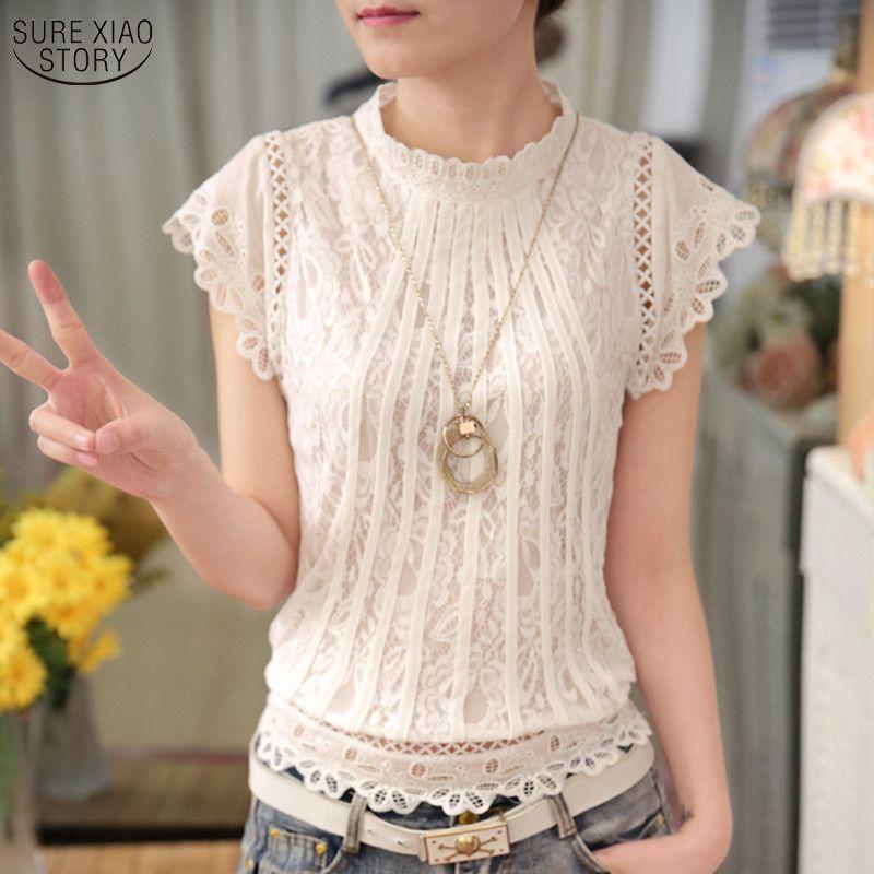New 2018 Summer Fashion elegant solid Women Blouses Petal Sleeve Lace Chiffon O-neck Plus Size Shirt Tops 01C 35