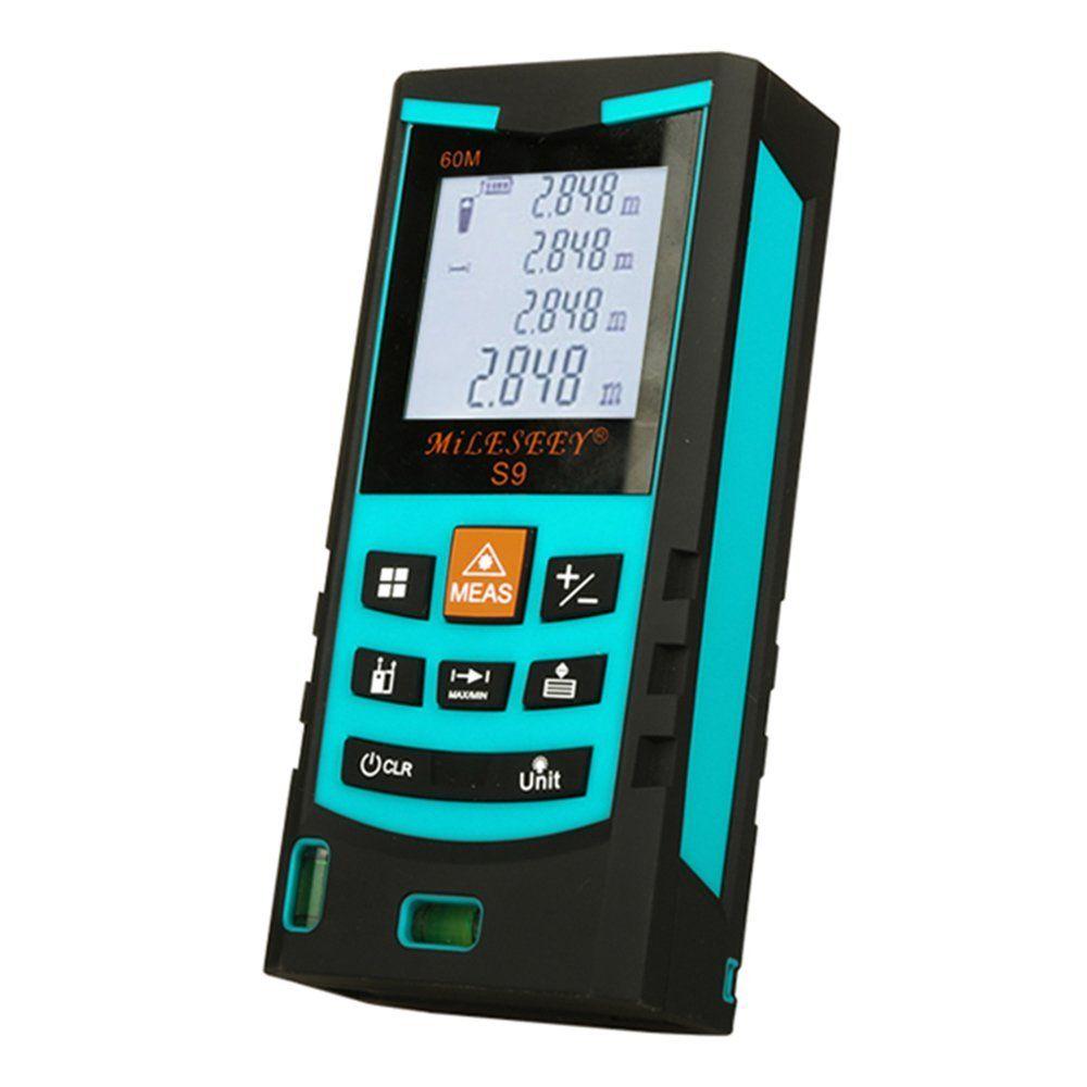 Mileseey Distance Meter S9 40M Bubble Level Rangefinder Range Finder Tape Measure Area/Volume Digital Laser Distance Meter