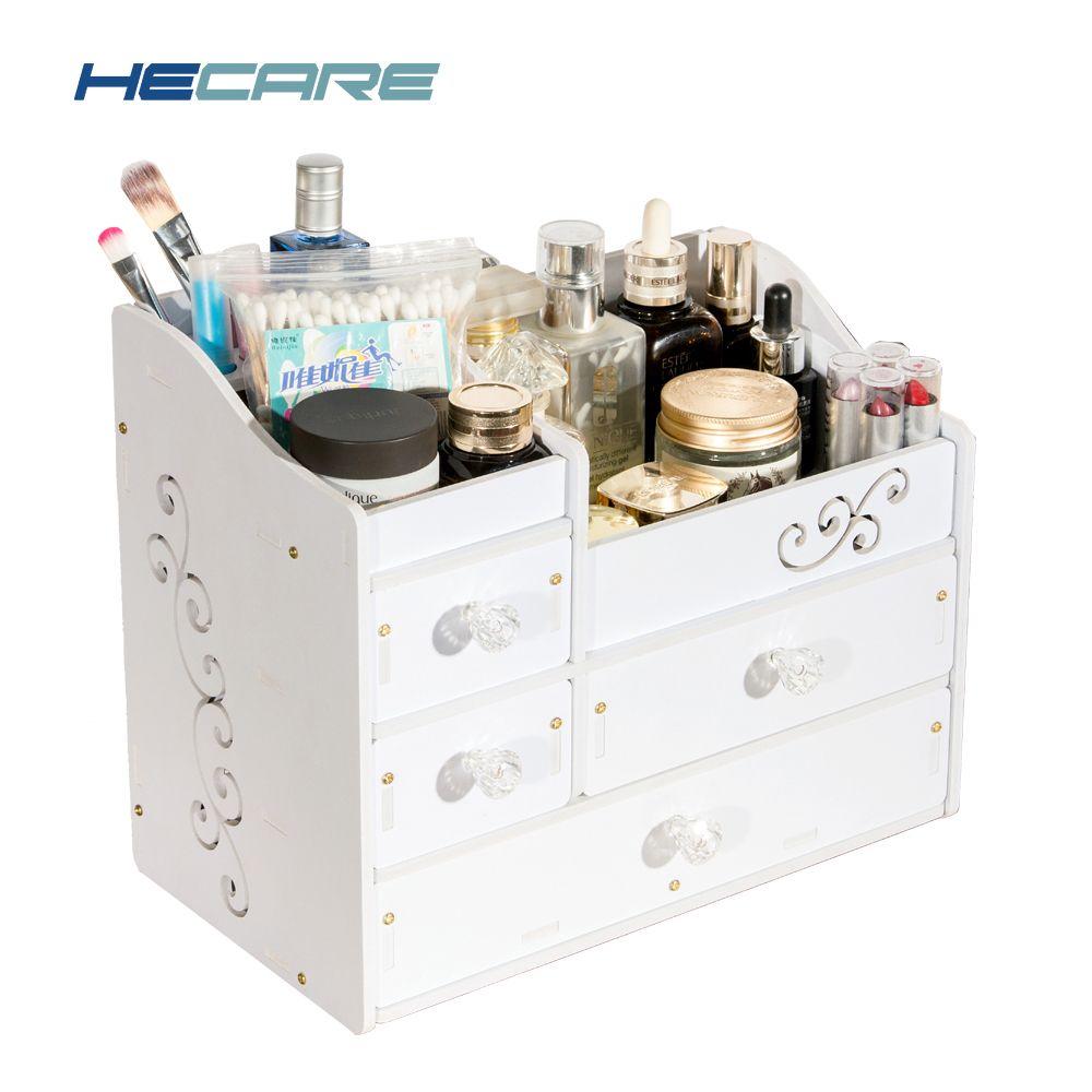 HECARE Plastic <font><b>Make</b></font> Up Organizer Jewelry Container DIY Waterproof Storage Box Cosmetic Container Jewelry Case Storage Organizer