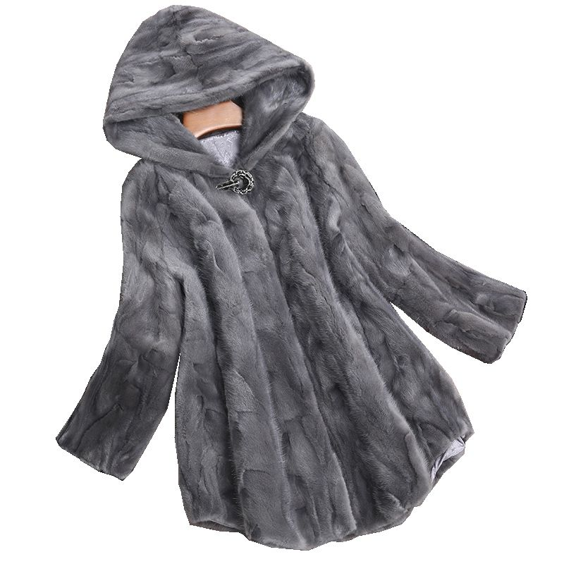 Luxus Echtes Stück Nerz Pelzmantel Jacke Herbst Winter Frauen Pelz Warme Oberbekleidung Mäntel Garment 3XL LF4226
