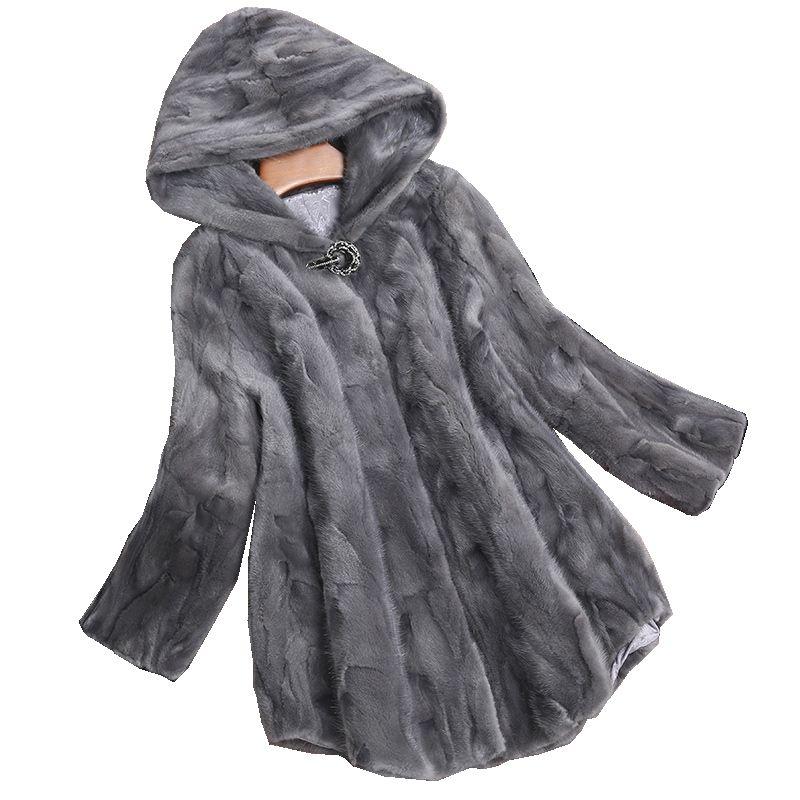 Luxus Echtes Stück Nerzpelzmantel Jacke Herbst Winter Frauen Fell Warme Oberbekleidung Mäntel Kleidungsstück 3XL LF4226
