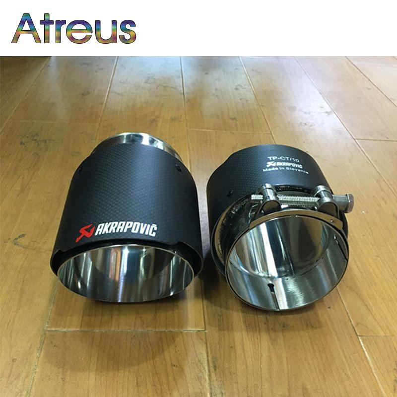 Atreus Carbon Fibeer Akrapovic Tips Car Exhaust Pipe For BMW X5 e53 e70 X6 e71 x1 F48 Accessories 2015 2016 2017 M performance