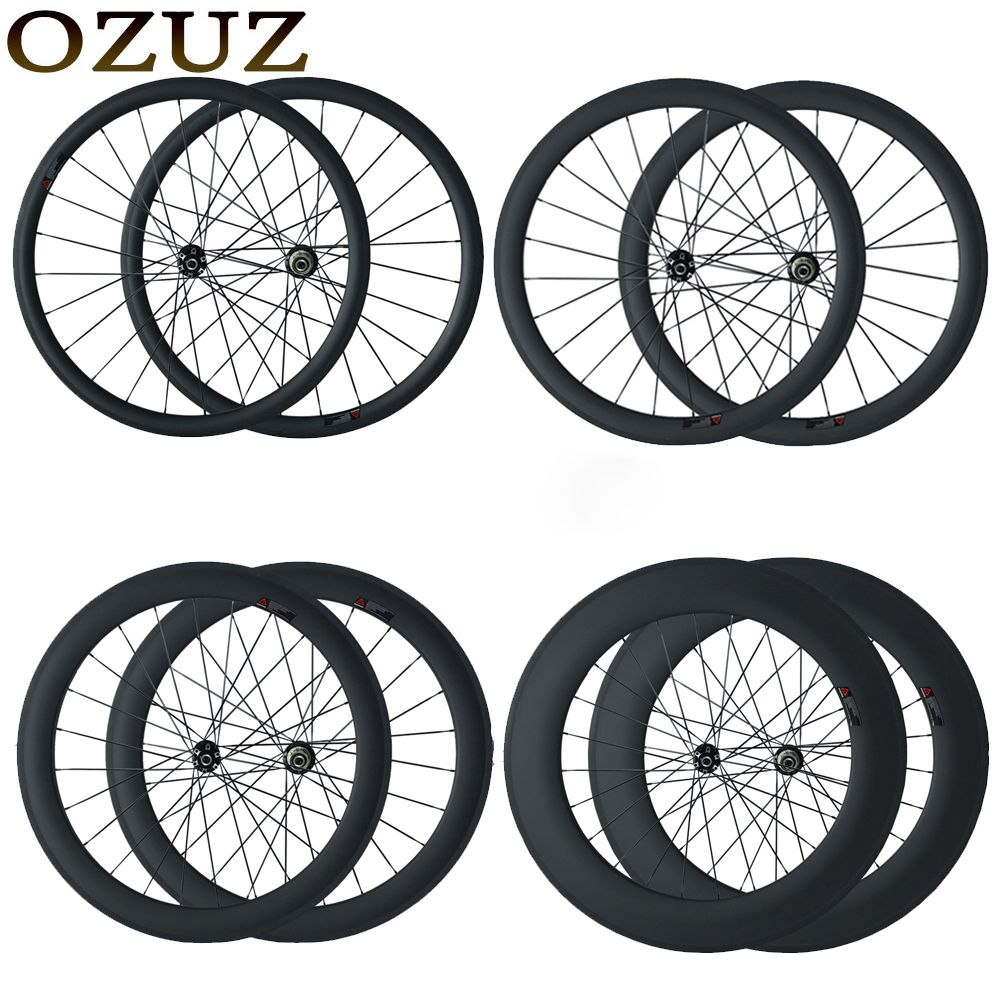 OZUZ disc brake cyclocross bike wheels 23mm wide clincher tubular 24mm 38mm 50mm 88mm chinese 700C 3k matte carbon fiber wheels