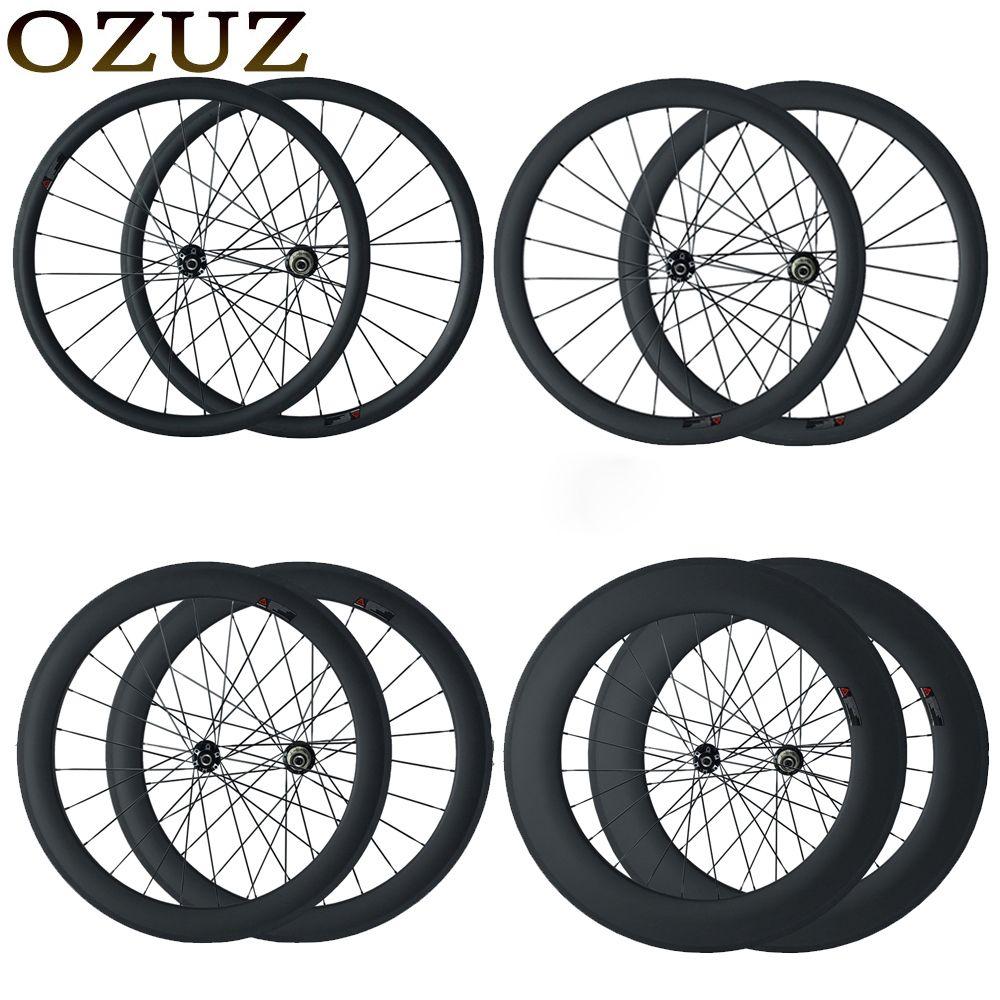 OZUZ disc brake cyclocross bike wheels 23mm wide clincher tubular 24mm 38mm 50mm 88mm chinese 700C 3k matte carbon fiber wheels