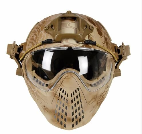 WoSporT New Tactical helmet with Mask Military Airsoft Army WarGame Motorcycle Cycling Hunting Riding Outdoor Activities