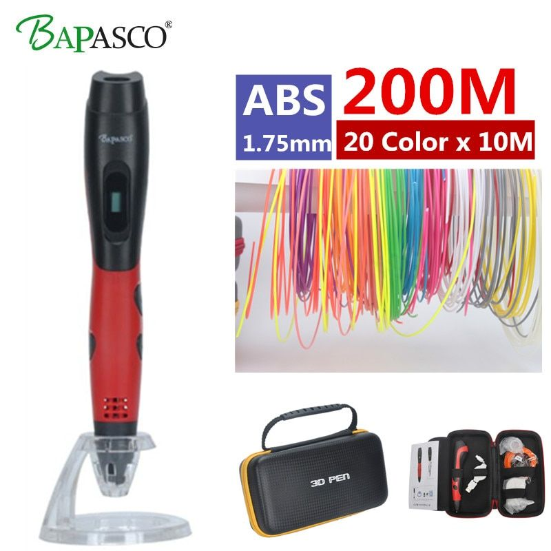 2018 Original <font><b>Bapasco</b></font> BP-04 3D Pen + 200 Meter(20 Color) ABS DC 5V 2A USB Charge 3D Printing Pen Kids' Best Education Gifts