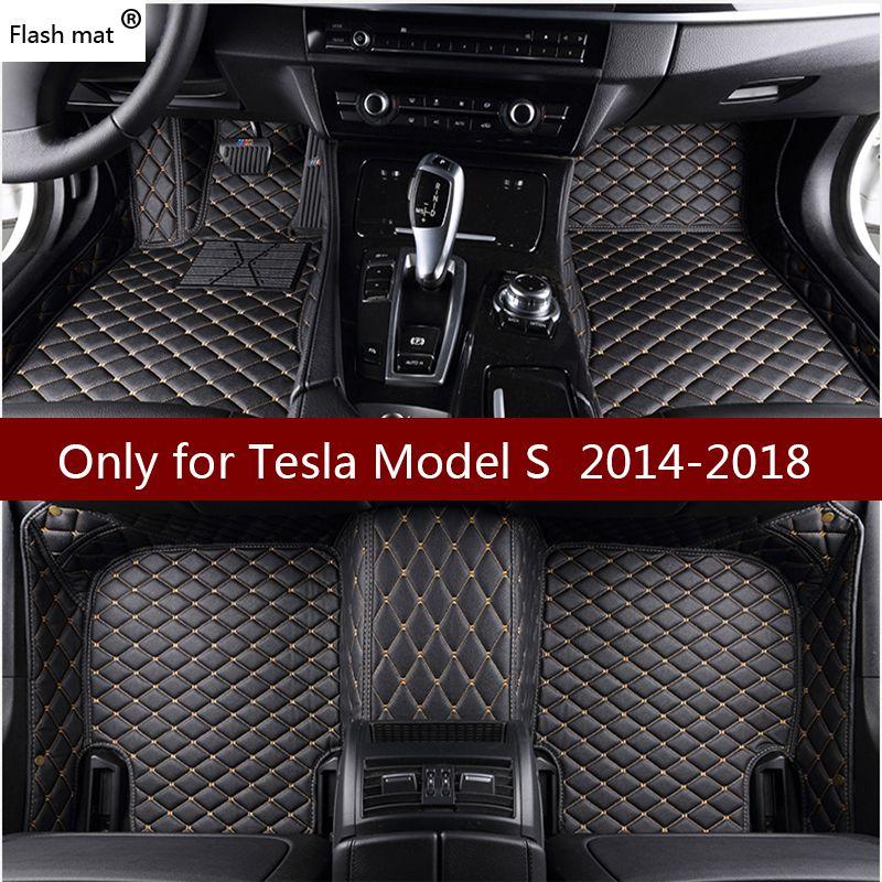 -Matte leder auto-fußmatten für Tesla Model S 2014 2015 2016 2017 2018 benutzerdefinierte fuß Pads autoteppich autoplanen