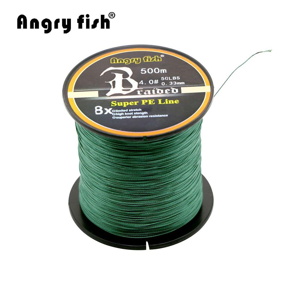 Angryfish Gros 500 Mètres 8X Tressé Ligne De Pêche 11 Couleurs Super Forte PE Ligne