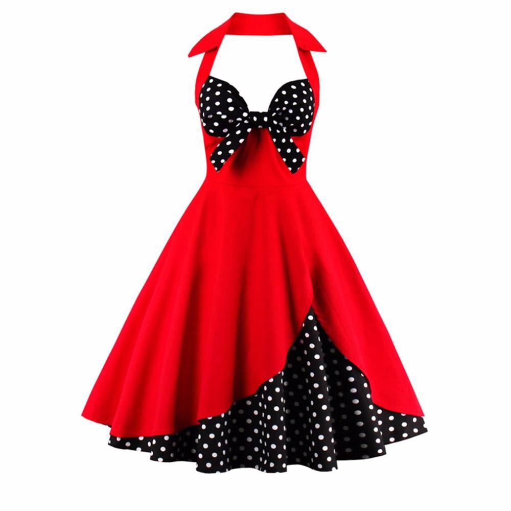 2017 nouvelle robe d'été femmes licou Patchwork Vintage robe grande taille fête tenue décontractée Feminino Rockabilly robe Swing Vestidos