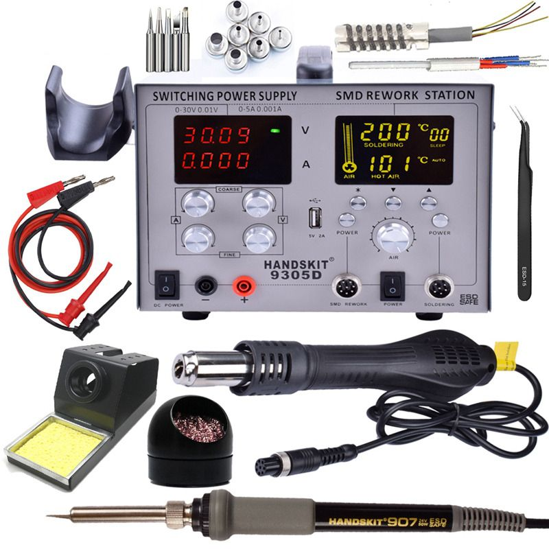 4 in 1 Hot Air Gun Rework Station 9305d +Soldering Iron Soldering Station Power Supply 5v2a with Accessies