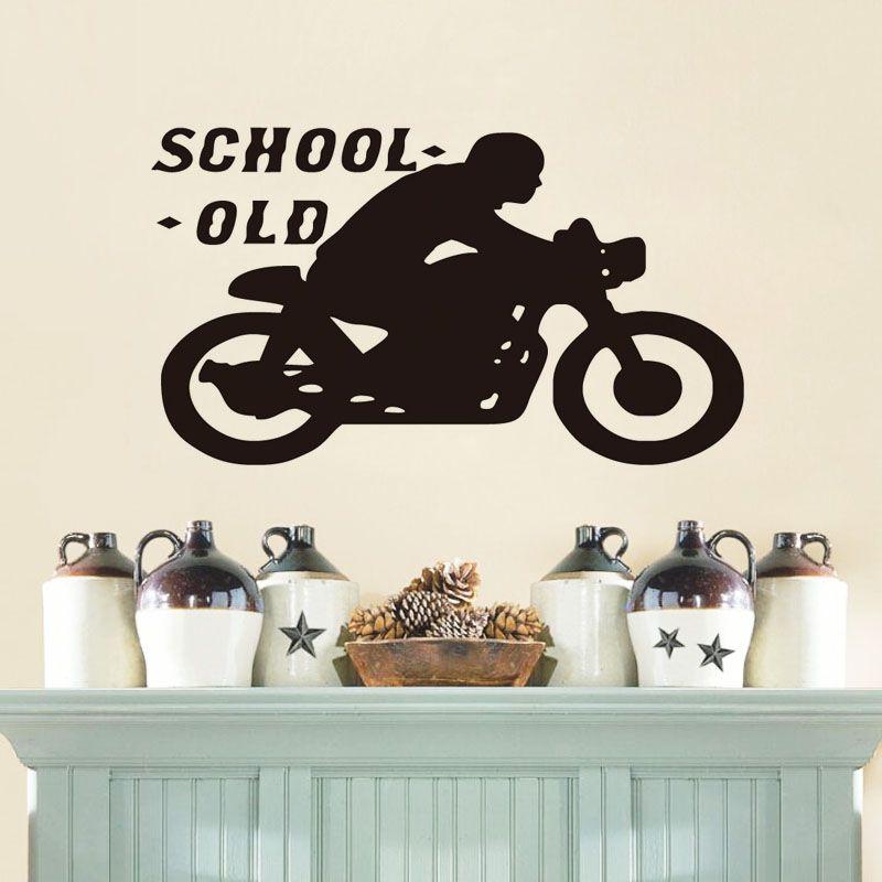 Old School Cafe Racer Vinyl Wall Sticker Home Decor Bedroom Wallpaper Motorcycle Wall Decals