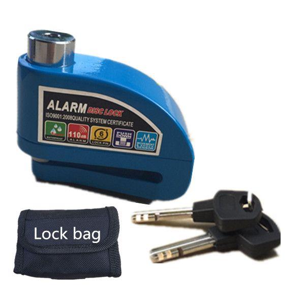 Free Shipping 2017 new motorcycle alarm lock bike lock security anti-theft lock moto disc <font><b>brake</b></font> lock +bag