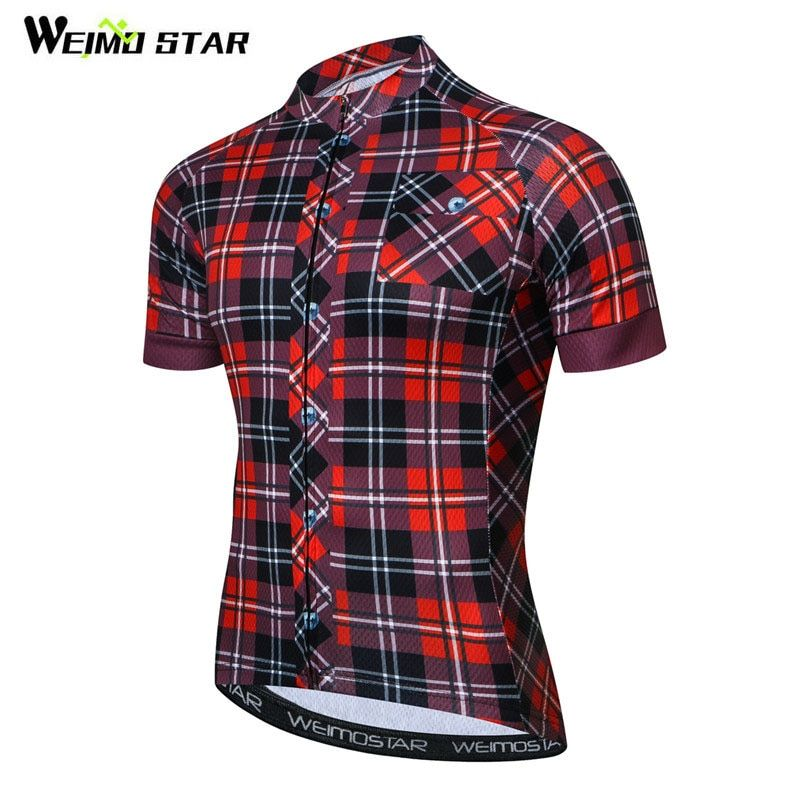 Weimostar Pro Team <font><b>Grid</b></font> Cycling Jersey Men Summer Short Sleeve Bicycle Cycling Clothing Quick Dry MTB Bike Jersey Ropa Ciclismo