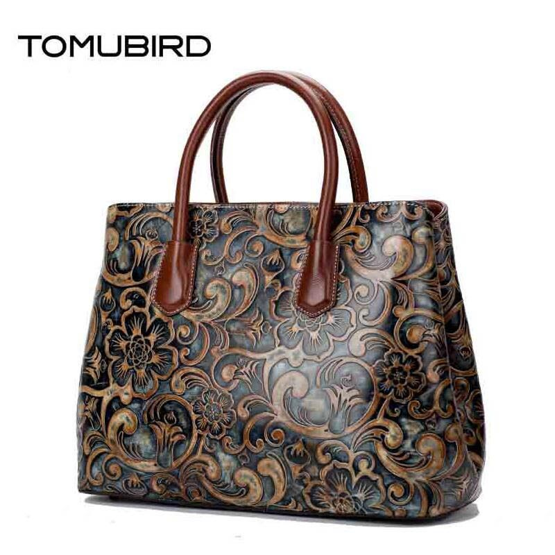 TOMUBIRD 2018 New women genuine leather bag brands National wind embossed luxury women tote bag top leather handbagsa