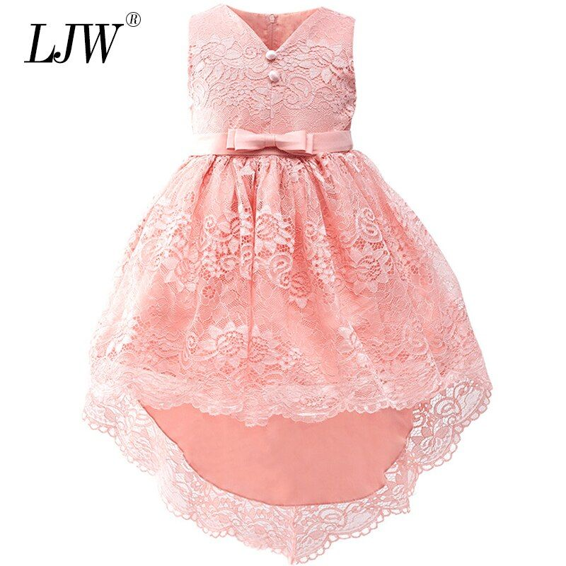 2018 Sale Real Kids Girls Elegant Wedding Flower Girl Dress Princess Party Pageant Formal Long Sleeveless Lace Tulle 2-14 Y