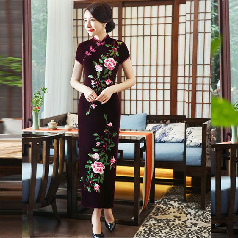2018 Modern Cheongsam Velvet Qipao Long Traditional Chinese Dresses Oriental Silk Dress China Clothing Store Blue Shanghai