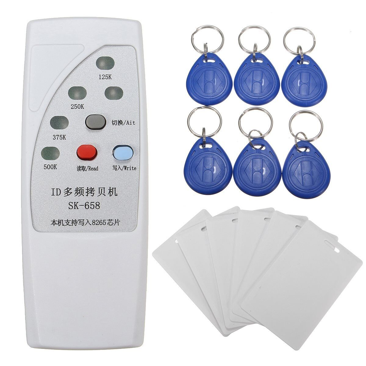 NEW Handheld 125KHz RFID ID Card Duplicator Programmer Reader Writer Copier Duplicator + 6 Pcs Cards+6 PcsTags Kit