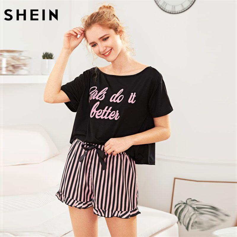 SHEIN Letter Print <font><b>Short</b></font> Sleeve Top and Striped <font><b>Shorts</b></font> Pajama Set Ladies Summer Sleep Wears Womens Casual Pajama Sets