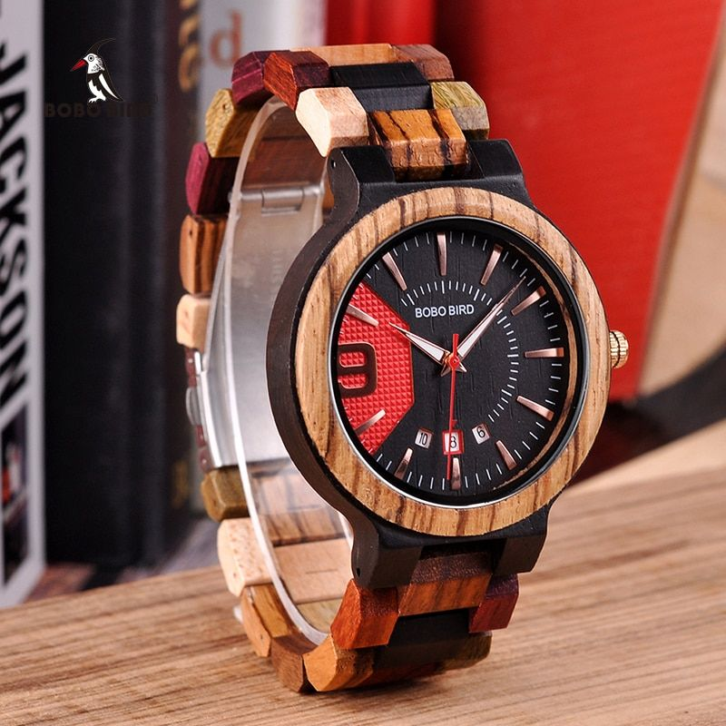 BOBO BIRD Relogio Masculino Wooden Watch Men Luxury Date Display Wood Quartz Watches Mens Great Gift erkek kol saati W-Q13