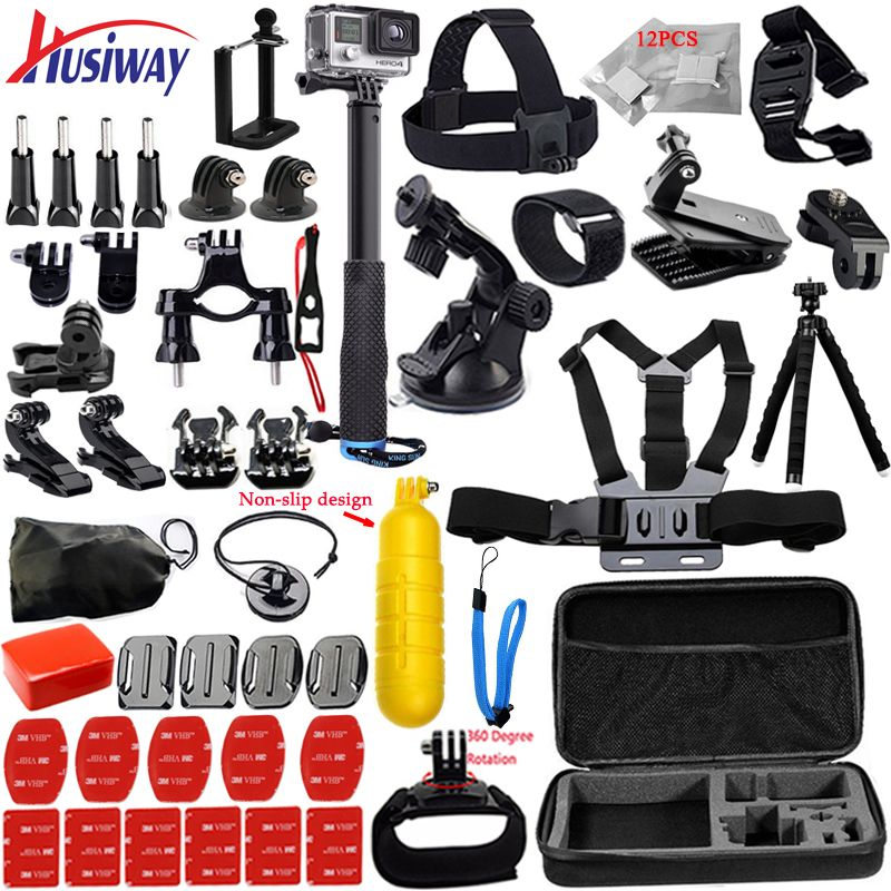 Husiway for <font><b>Gopro</b></font> accessories set for go pro hero 6 5 4 3 kit mount 360 rotate mount for xiaomi yi / Eken h9r camera 12k