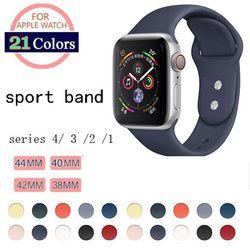 Lembut Silicone Pengganti Sport Band untuk Apple Watch Seri 1/2/3 42 Mm 38 Mm Pergelangan Tangan Gelang tali untuk IWatch 4 40 Mm 44 Mm Olahraga