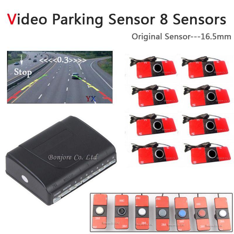 Koorinwoo Voiture Parking Capteurs 8 Radars D'origine 16.5mm Vidéo Parking Système D'alarme Aide Au Stationnement De Voiture Accessoires Parktronic