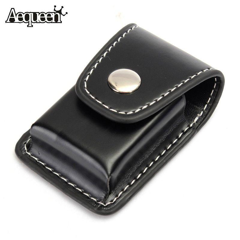 AEQUEEN Zippo Lighter Men Cigarette Lighter Holder Bag Small BoxCase For Zippo Super Match High Leather Cover Windproof Black