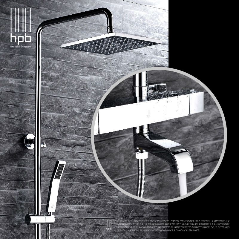 HPB Brass Thermostatic Bathroom Hot And Cold Water Mixer Bath Shower Set Faucet torneira banheiro Shower Head HP2106a