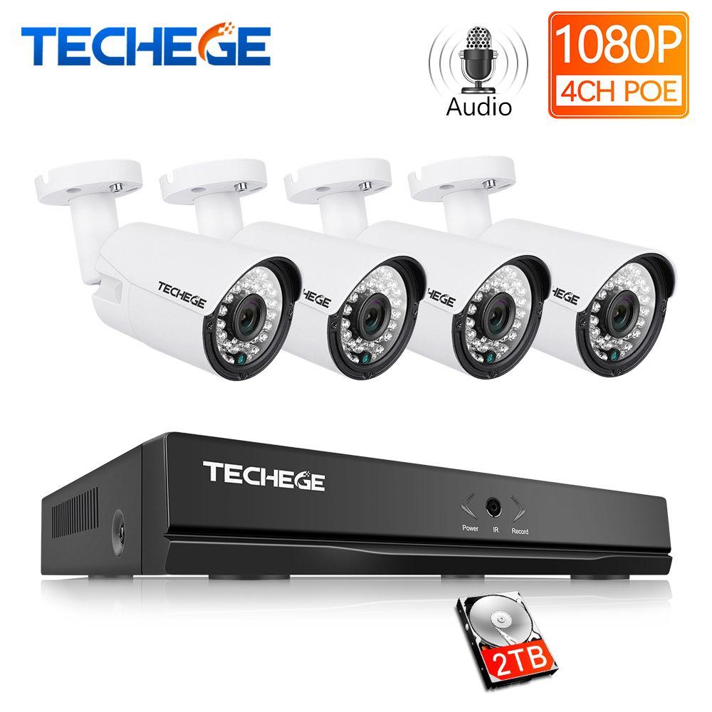 Techege 4CH CCTV System 1080P PoE NVR Metall Outdoor 2.0MP IP Kamera System Onvif Wolke 1080 NVR KIT Motion erkennen Nachtsicht