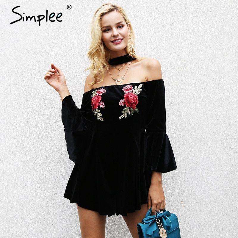 Simplee Broderie encolure halter salopette barboteuse Femmes Flare manches courtes salopette Streetwear casual velours combishort