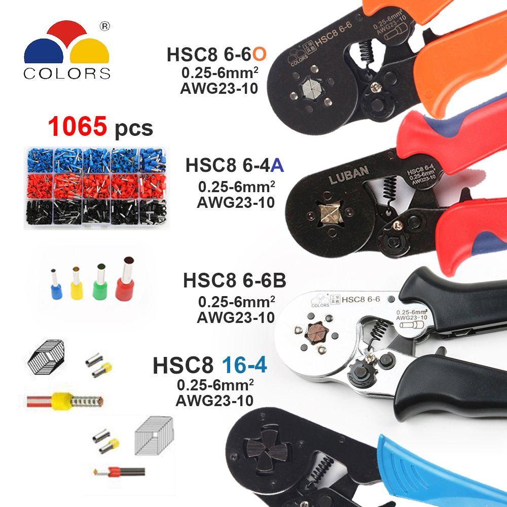 Outils HSC8 6-4 HSC8 6-6 AUTO-RÉGLABLE MINI-TYPE PINCE À SERTIR 0.25-6mm2 pinces outils à main terminaux