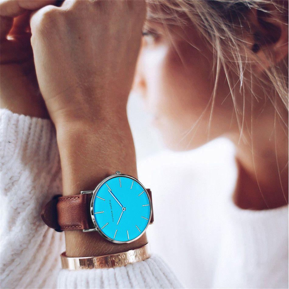 2018 Nouveau Simple Étanche Bleu Femmes En Cuir montres Marque Ultra Mince Casual Dames De Mode Japon Mouvement À Quartz Montres
